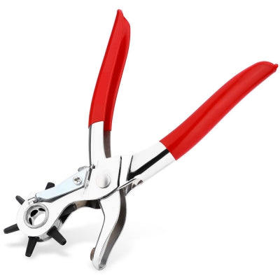 Rotary Hole Punch Plier with Rubber Handle for Leather Belt Watch Band