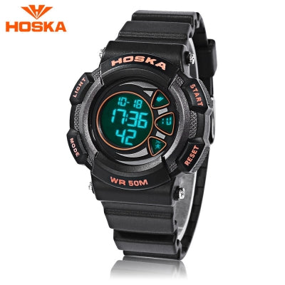 HOSKA H020S Children LED Digital Watch 5ATM Day Date Display Wristwatch