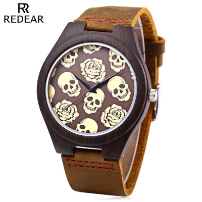 REDEAR Male Quartz Watch Imported Movt Skull Pattern Wooden Case Wristwatch