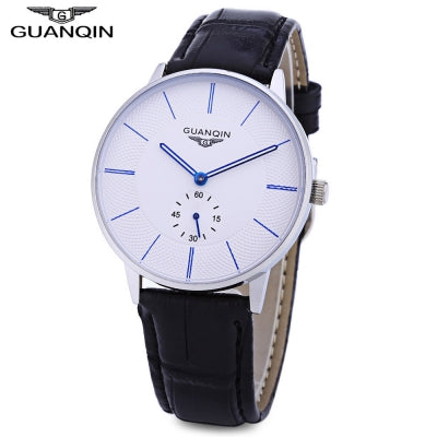 GUANQIN BJ001 Male Quartz Watch Working Sub-dial 10ATM Genuine Leather Strap Wristwatch