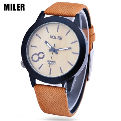 MILER 83125 Unisex Quartz Watch Leather Band Luminous Pointer Daily Water Resistance Wristwatch