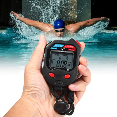 PC100D 3 Rows 100 Memories LCD Digital Sports Stopwatch with Calendar Alarm Function