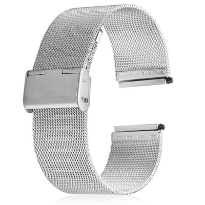 22mm Men Women Stainless Steel Mesh Watch Strap Folding Clasp with Safety Bracelet
