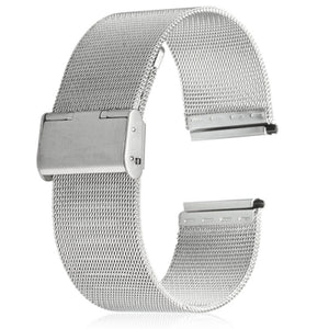 20mm Men Women Stainless Steel Mesh Watch Strap Folding Clasp with Safety Bracelet