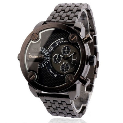 Oulm Fashion Waterproof Quartz Watch with Double Movt Analog Indicate Steel Watchband for Men