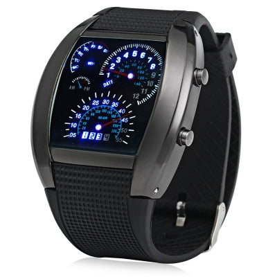 Rubber Band Arch Shaped LED Car Racing Watch with Blue Light Display Time
