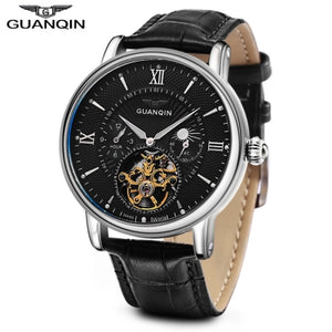 GUANQIN GJ16036 Men Auto Mechanical Watch Chronograph Moon Phase Luminous Wristwatch