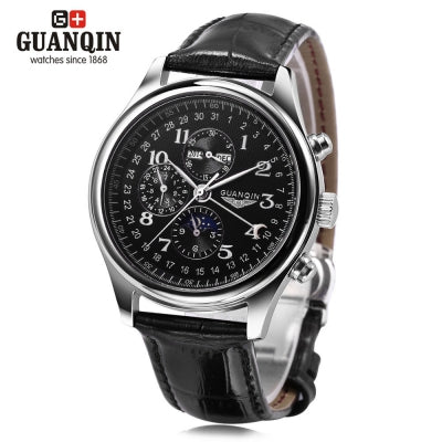 GUANQIN GQ20022 Male Auto Mechanical Watch Moon Phase Calendar 24 Hours System Men Wristwatch