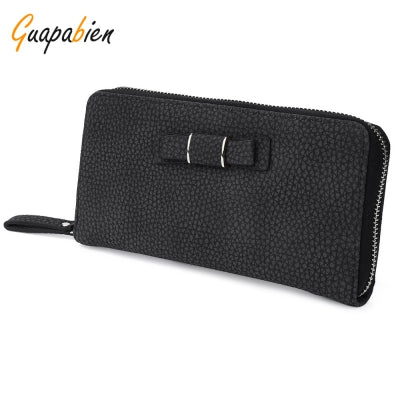 Guapabien Bowknot Embellishment Lichee Pattern Horizontal Zipper Wallet for Lady
