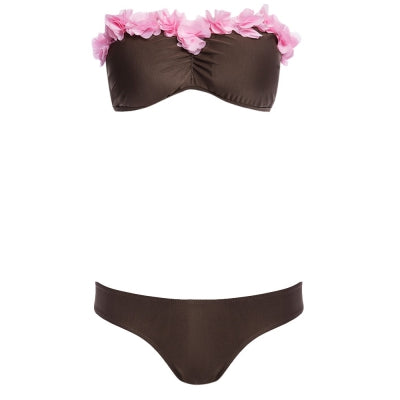 Sweet Strapless Lacework Bra Low Waist Brief Bikini Set for Women (TAN)