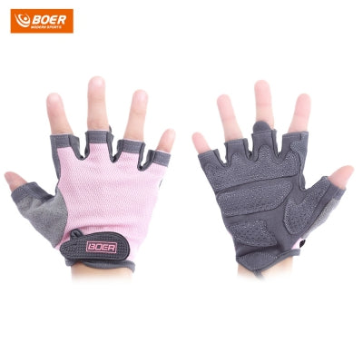 BOER Paired Fitness Sport Gym Exercise Weightlifting Women Half Finger Gloves (PINK)