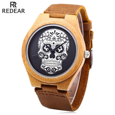 REDEAR Male Quartz Watch Imported Movt Skull Pattern Dial Wooden Case Wristwatch