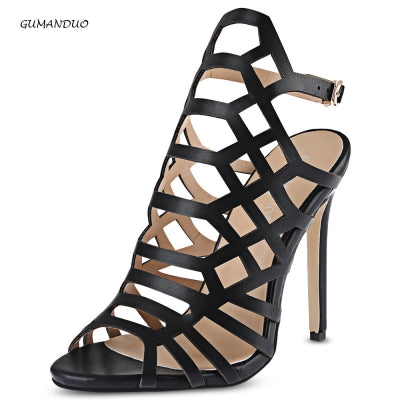 GUMANDUO Sexy Hollow Out Open Toe Ladies Ultra-high Heel Sandals