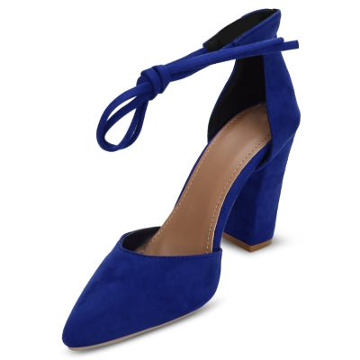 Pointed Toe Ankle Strap Tied Thick High Heel Women Shoes