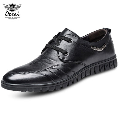 DESAI Stylish Genuine Leather Pointed Toe Lace-up Men Shoes