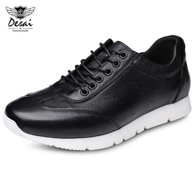 DESAI Casual Lace-up Leather Hollow Out Men Flat Shoes