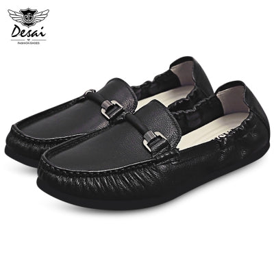 DESAI Fashionable Pointed Toe Slip-on Leather Men Flat Shoes