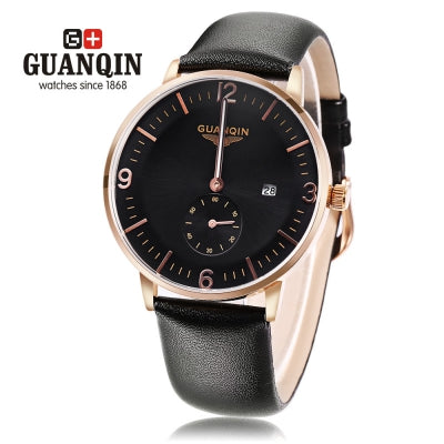 GUANQIN GQ13007 Male Quartz Watch Stopwatch Calendar Luminous Men Wristwatch