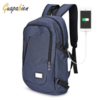Guapabien USB Charge Port Cable Backpack Travel Laptop Bag