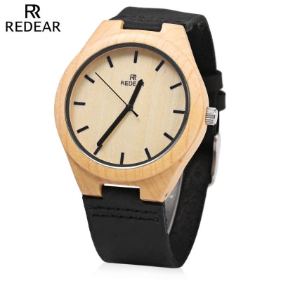 REDEAR Quartz Wooden Male Watch Simple Round Dial Leather Band Lightweight Wristwatch