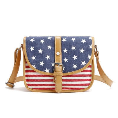 Stars Stripes Patchwork Small Canvas Crossbody Bag