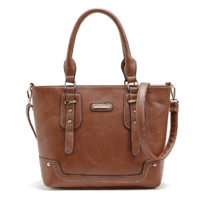 Buckle Solid Color Studs Tote Bag