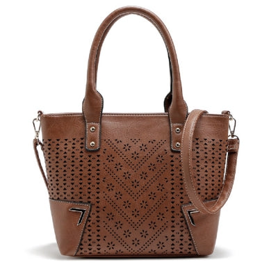 Solid Color Engraving Flower Studs Tote Bag