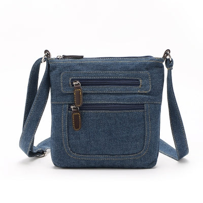 Zipper Solid Color Denim Crossbody Bag