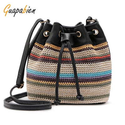 Guapabien Bohemian Striped Crossbody Shoulder Bucket Bag