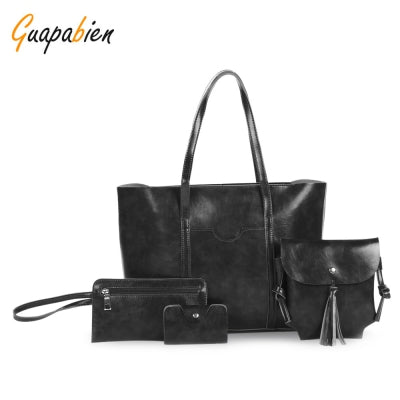 Guapabien 4pcs Women Tote Handbag Shoulder Crossbody Bag