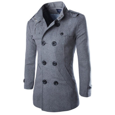 Men's Double Breasted Long Sleeve Turndown Collar Cotton Coat