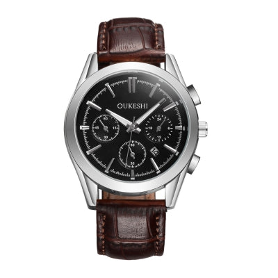 OUKESHI Luxury Casual Quartz Sports Wristwatch Leather Strap Male Watch with Calendar