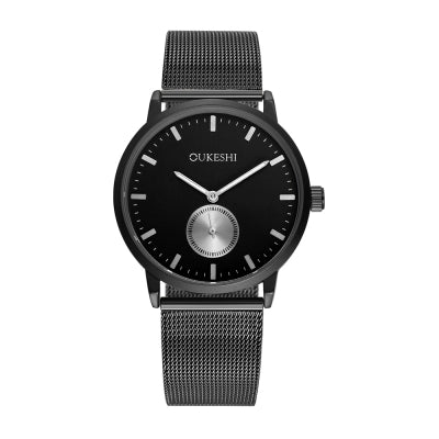 OUKESHI Fashion Men Business Waterproof Quartz Gun Black Mesh Wrist Watch