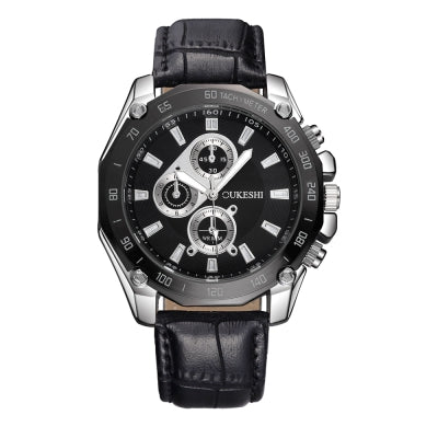 OUKESHI Luxury Men Business Quartz Waterproof Leather Wristwatches
