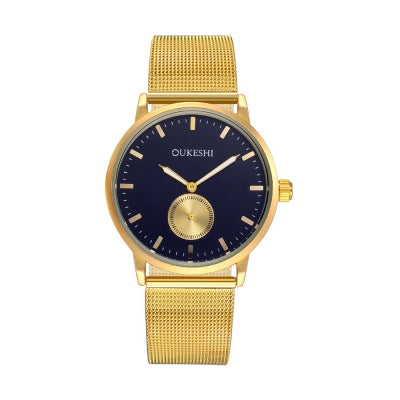 OUKESHI Fashion Men Business Quartz Mesh Golden Wrist Watch