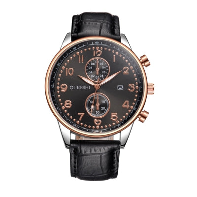 OUKESHI Leisure Style Fashion Men Quartz Calendar Leather Watch