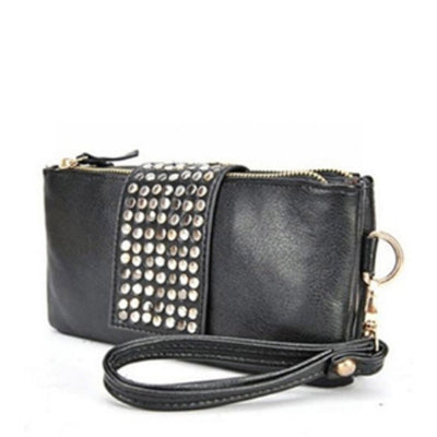 Women's Clutch Bag Simple Solid Rivets Decor Rectangle Purse