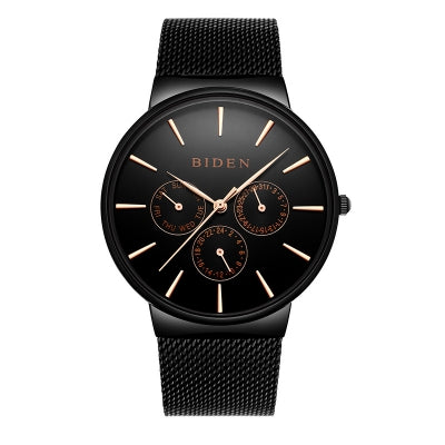 BIDEN Luxury Brand Men Watch Ultra Thin Stainless Steel Clock Male Quartz Sport Watch Men Waterproof Casual Wr......