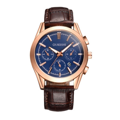 OUKESHI New Style Fashion Men Quartz Leather Calendars Waterproof Watch