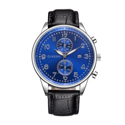 OUKESHI Fashion Men Leather Calendars Waterproof Quartz Watch