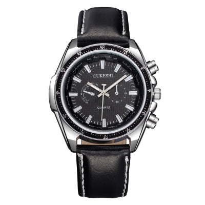 OUKESHI Luxury Men Business Quartz Leather Strap Wristwatch