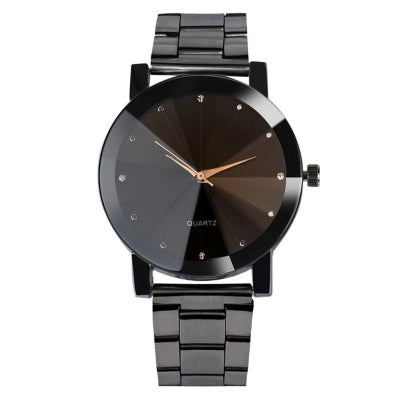 REEBONZ Gun Black Rhinestone Metallic Strap Analog Watch