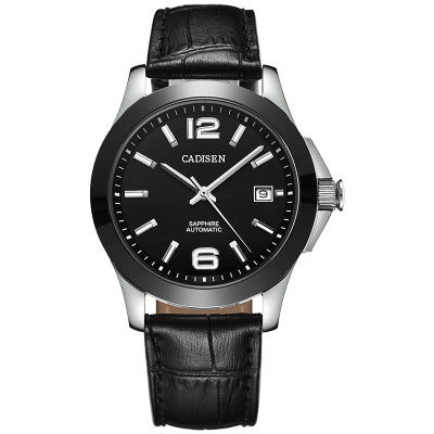 Cadisen Watches Classic Men AUTO Date automatic Mechanical Watch Analog Skeleton Black Leather black ceramic W......