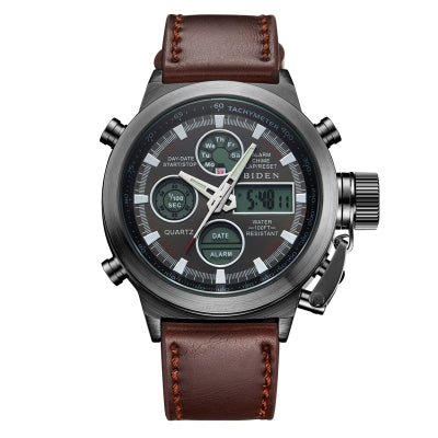 BIDEN 0031 Brand Men Analog Digital Leather Sports Watches Men'S Army Military Watch Man Quartz Clock Relogio ......