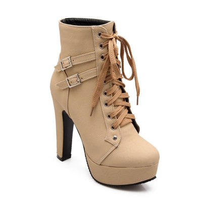 Spring Autumn Women Ankle Boots Female High Heels Lace Up Leather Shoes Woman Double Buckle Platform Fashion S......