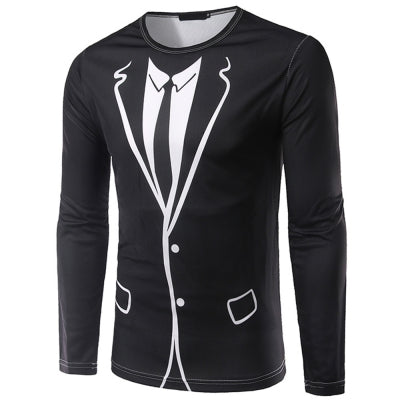 Blazer Suit Print Long Sleeve Funny T-shirt