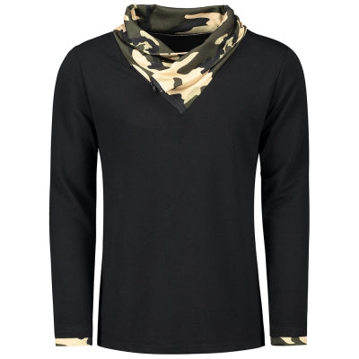 Heaps Collar Camouflage Long Sleeve T-shirt
