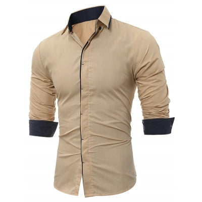 Turndown Collar Cover Placket Edging Shirt