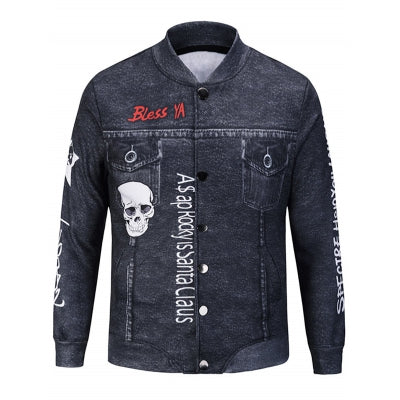 Skull Graphic Print Jacket