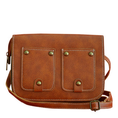 Women's Crossbody  Retro Dual Imitated Pockets Pattern Trendy Bag